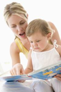 Mom & toddler w book 1